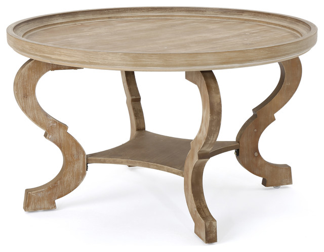 Alteri Finished Faux Wood Circular Coffee Table, Natural.