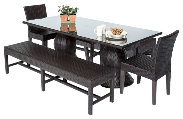 Saturn Dining Table With Armless Chairs And Benches 5 Piece Set No Cushions