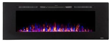 "Touchstone The Sideline60 60"" Recessed Electric Fireplace With Heat In Black."