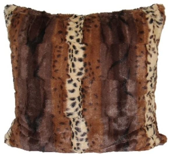 Modhome Leopard Faux Fur Animal Print Accent Pillow Cover