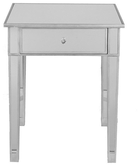 half off 9a607 a0e86 The Urban Port Mirrored Accent Table With Single Drawer, Silver