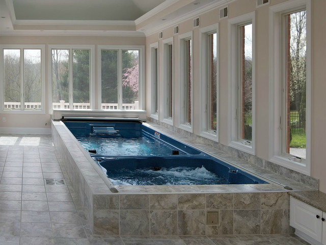 Indoor Swim Spa, automatic pool, spa cover - Traditional - Pool ...