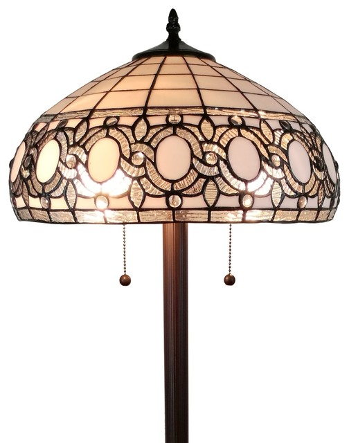 Amora Lighting Tiffany Style Floral White Floor Lamp 62 In High.