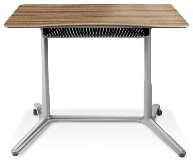 Height Adjustable Sit Or Stand Desk, Walnut.