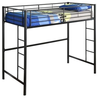 "Metal Twin Size Loft Bed, 68""x80""x42"", Black"