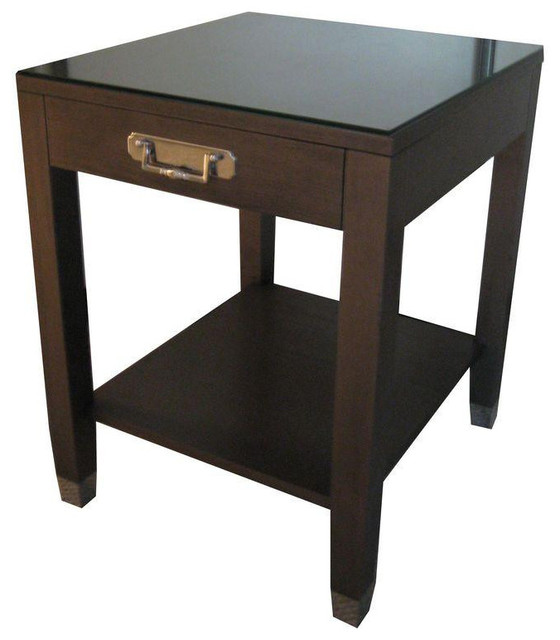 Beau Side Table Traditional Dark Wood Nickel Hardware   $1,000 Est. Retail    $400 On