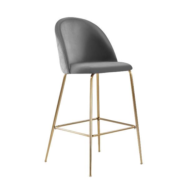Millennial Brass Velvet Upholstered Dining Bar Stool, Soft Grey, 65 cm