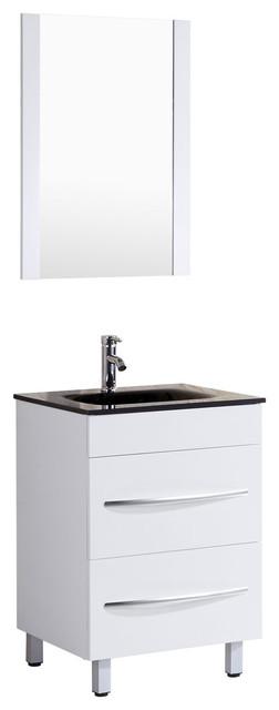 Style 4, 24w White Vanity Sink Base Cabinet, Mirror, Lv4-24w.