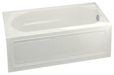 """Devonshire Alcove Bath Tub, Integral Apron, Right-Hand Drain, 60""""x32"""", White."""