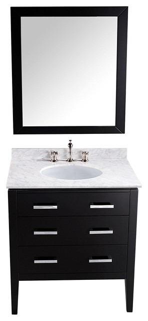 31&x27;&x27; Bosconi Sb-260 Contemporary Single Vanity With White Marble Top, Oval Sink.