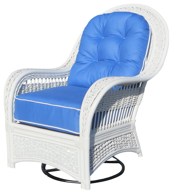 Regatta Swivel Rocker in White, Wild Orchard Black Fabric by Spice Islands Wicker