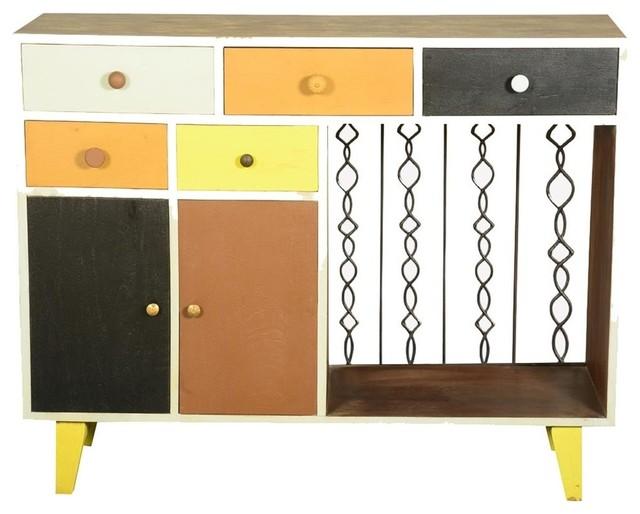 60 S Retro Earth Tones Mango Wood Freestanding Storage Cabinet Contemporary Cabinets By Sierra Living Concepts