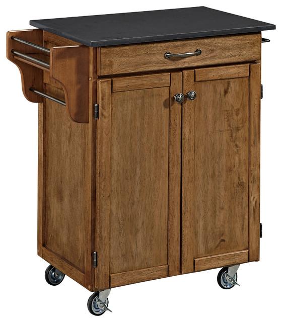 Cuisine Cart In Warm Oak Finish Transitional Kitchen