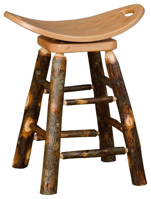 Rustic Hickory Swivel Saddle Stool Rustic Bar Stools