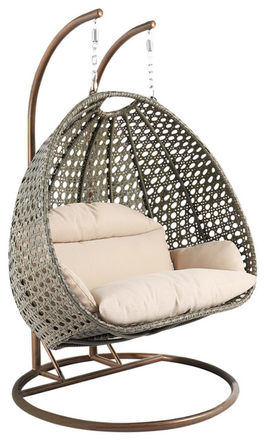 Leisuremod Wicker Hanging 2 Person Egg Swing Chair With Outdoor Cover Modern Hammocks And Swing Chairs By Leisuremod