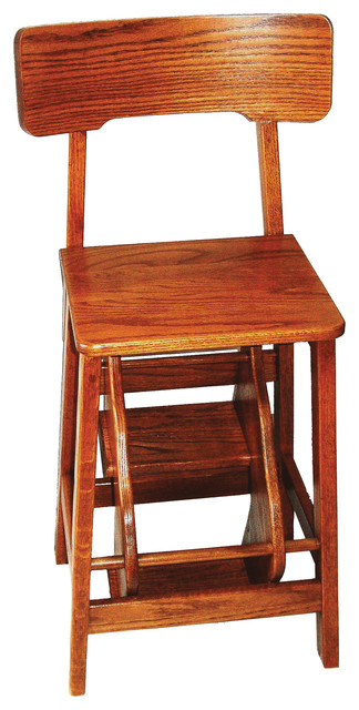 Amish Made Counter Height Oak Stool With Back And Flip Out Steps Transitional Ladders And Step Stools By Furniture Barn Usa