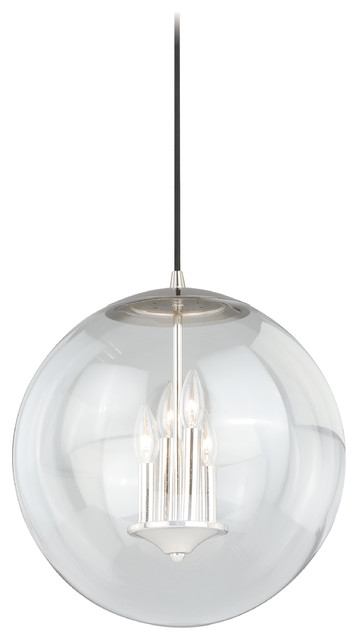 "630 Series 15-3/4"" Pendant Light, Polished Nickel With Clear Glass."