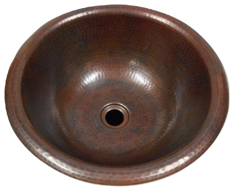 Hammered Round Copper Bath Sink