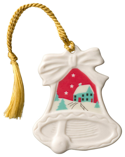 Belleek Christmas Scene Bell Ornament - Traditional - Christmas Ornaments - by Tableware Gallery