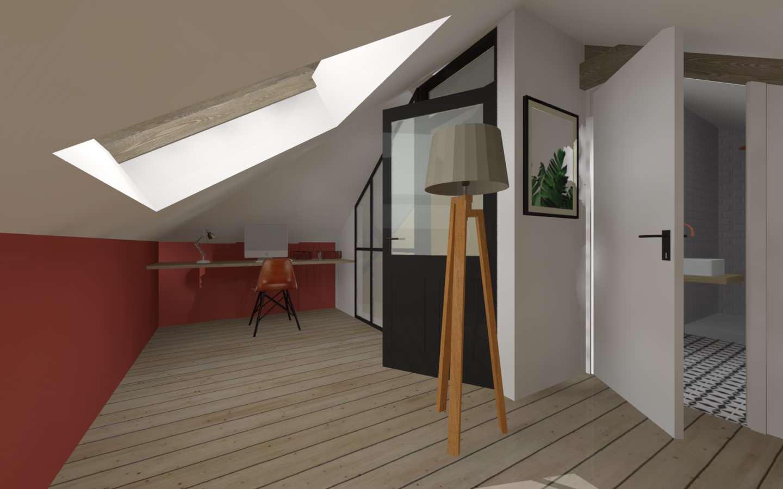 Aménagement des combles d'une maison de plein pied, option 2 le bureau