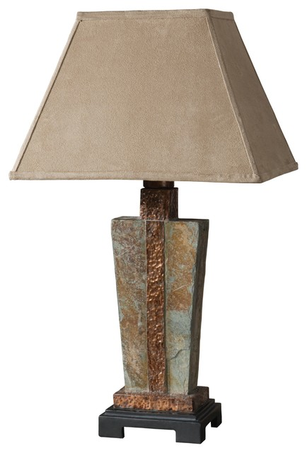 Uttermost Slate One Light Matte Black Table Lamp.
