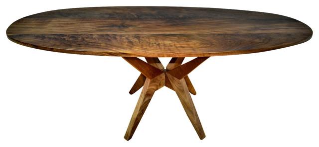 Oval Walnut Table Modern Design Solid Walnut Midcentury Dining