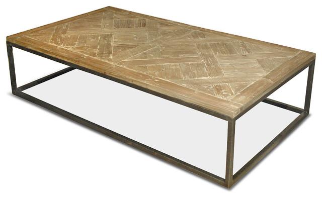 Stevenson Rustic Lodge White Wash Reclaimed Pine Metal Coffee Table