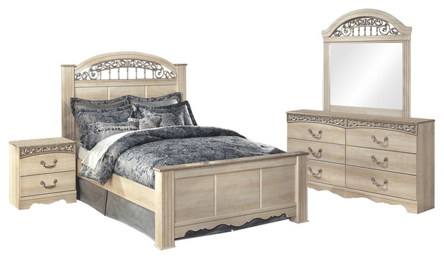 Exceptionnel Ashley Catalina 4 Piece Queen Poster Bedroom Set, Ivory