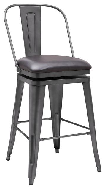 Graphite Metal Swivel Barstool