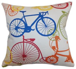 Echuca Bicycles Pillow Multi Contemporary Decorative