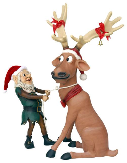 Elf Pulling Funny Reindeer