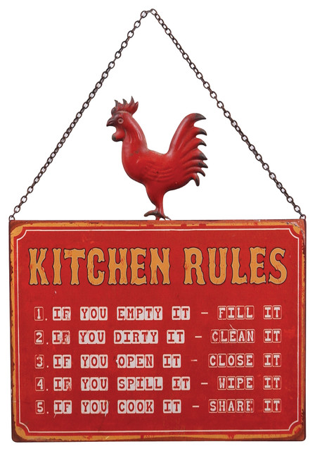 Quot Kitchen Rules Quot Rooster Wall Sign Red White And Gold
