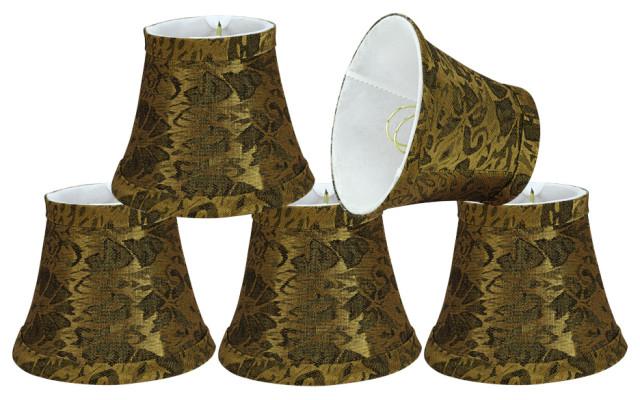 Lamp Shade Set Pumpkin Gold 3 X5 X4, Chandelier Lamp Shades Drum Shape