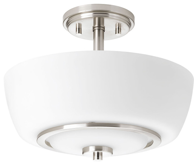 Fleet 2-Light Semi-Flush Mounts, Brushed Nickel.