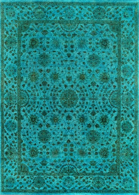 Rugsville Turquoise Overdyed 12260 9x12 Wool Rug Area Rugs