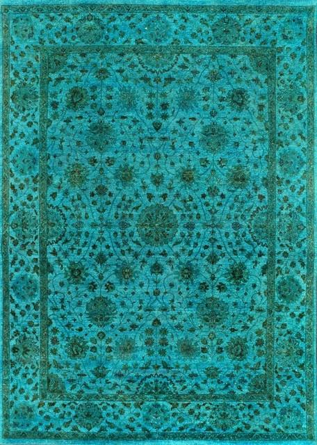 Rugsville Turquoise Overdyed 12260 9x12 Wool Rug Mediterranean
