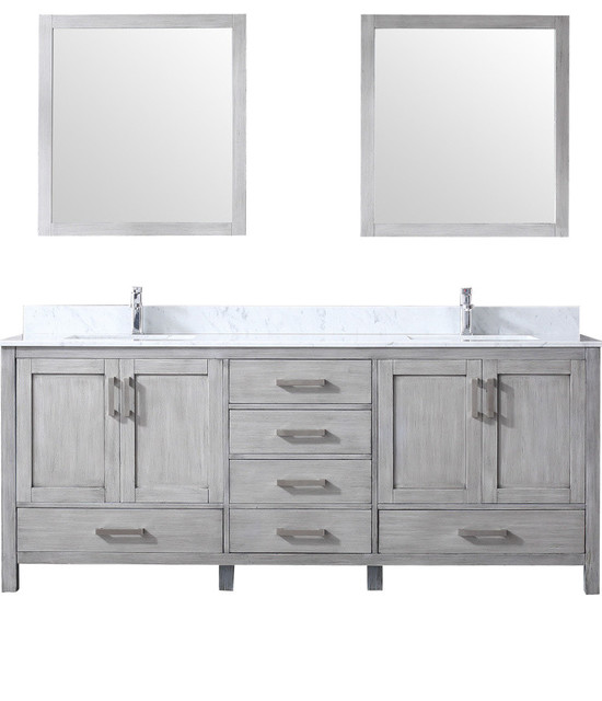 """Jacques 80"""" Double Vanity Distressed Grey,Carrera Marble Top,Square Sinks&30""""Mir"""