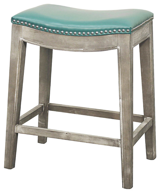 Elmo Bonded Leather Counter Stool, Turquoise
