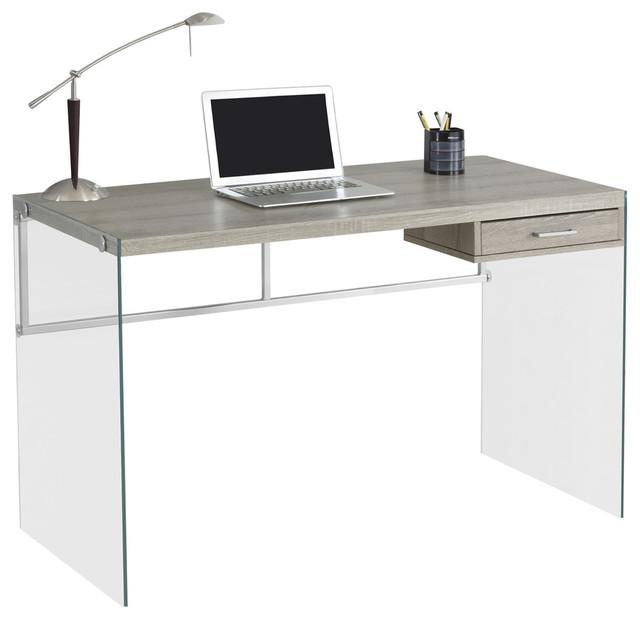 Ivana Glass Computer Desk Dark Taupe