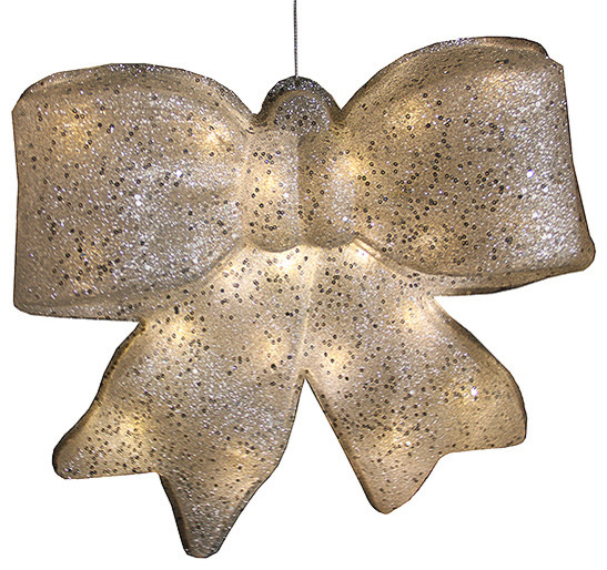 glittered battery operated lighted led christmas bow decoration silver 155