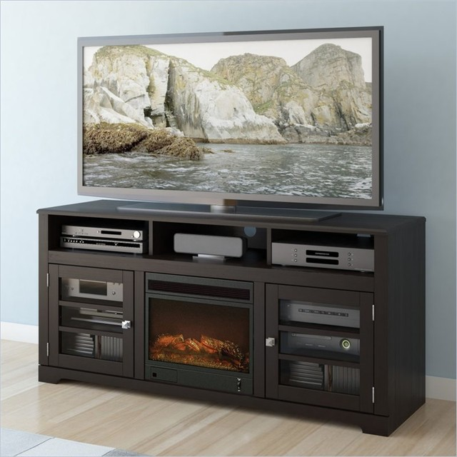 """Sonax West Lake 60"""" Fireplace TV Stand in Mocha Black"""