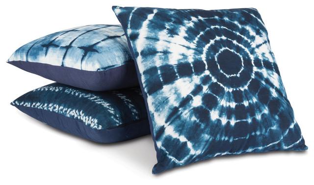 Indigo Ink Pillows, Set Of 3.
