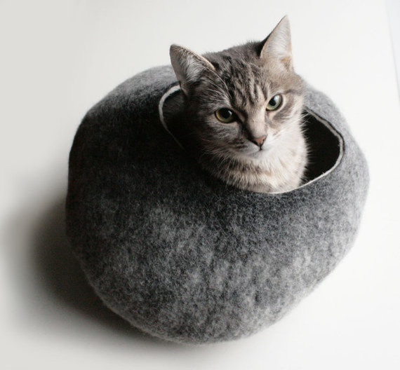 Warm Gray Stone Hand Felted Wool Cat Bed/Vessel by Vaiva Nat