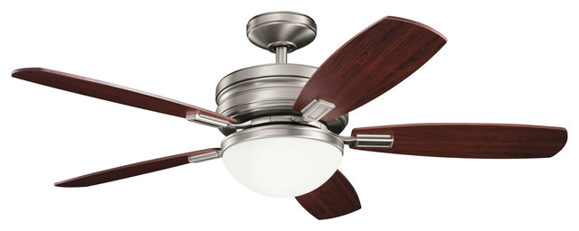 52 Carlson Fan Led, Antique Pewter/black Cherry And Light Cherry Blades.
