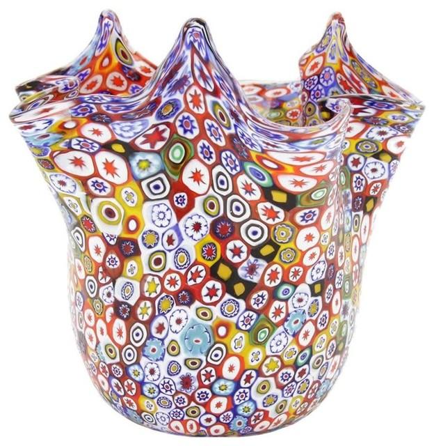 Murano Glass Millefiori Fazzoletto Bowl Multicolor Contemporary