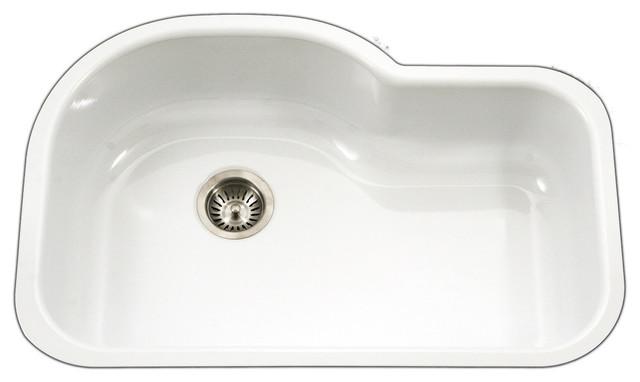 "Porcela Series Offset Single Kitchen Sink, 31"", White."