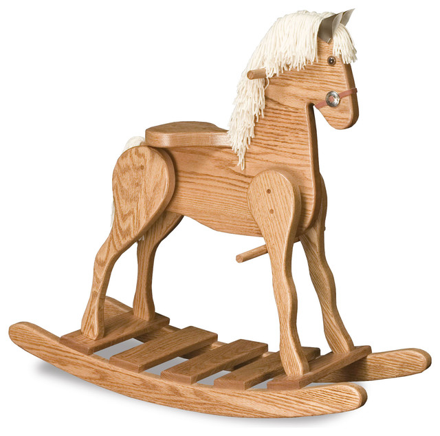Medium Amish Crafted Solid Natural Oak Rocking Horse White Mane