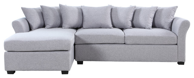 Modern Large Linen Sectional Sofa With Extra Wide Chaise
