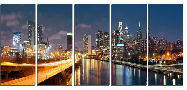 """philadelphia Skyline At Night"" Metal Wall Art, 5 Panels, 60""x28""."
