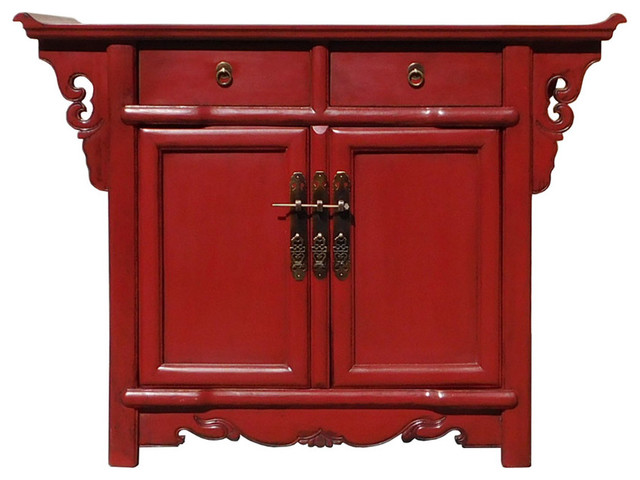 Chinese Oriental Red Altar Side Table Cabinet Hcs1325 - Asian ...